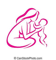 schizzo, delineato, simbolo, stilizzato, vettore, mamma, bambino