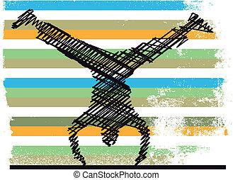 schizzo, di, equilibrismo, ginnastico, fare, uno,...