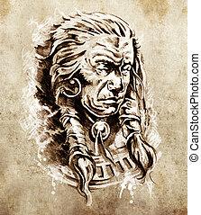 schizzo, di, tatuaggio, arte, ritratto, di, indiano americano, capo, in, vestito nazionale