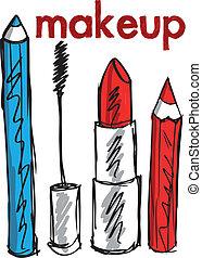 schizzo, di, trucco, products., vettore, illustrazione