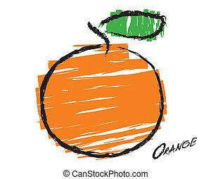 schizzo, di, un, arancia