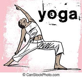 schizzo, donna, astratto, yoga., meditare, illustrazione, vettore
