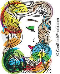 schizzo, donna, illustration., astratto, vettore, face.