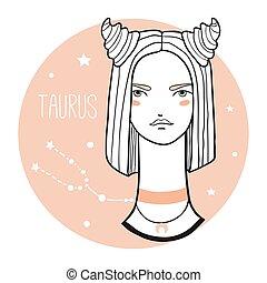 schizzo, donna, stile, toro, girl., zodiaco