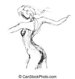 schizzo, donna, torso