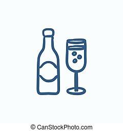 schizzo, due, bottiglia, icon., bicchieri champagne