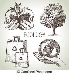 schizzo, ecologia, set., illustrazione, mano, vettore, disegnato
