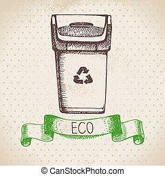 schizzo, ecologia, vendemmia, mano, fondo., vettore, disegnato