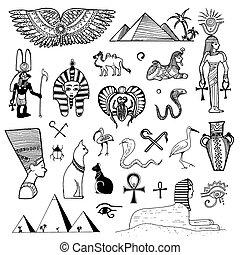 schizzo, egitto, illustrazione, mano, simboli, vettore, fondo, disegnato, bianco