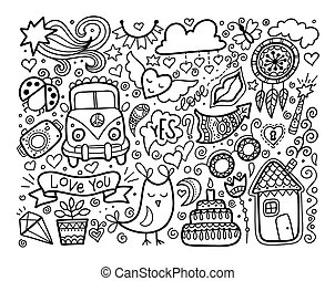 schizzo, elementi, amore, set, scarabocchiare, nero, bianco