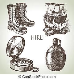 schizzo, elementi, campeggio, escursione, set., mano, disegno, disegnato, turismo
