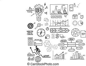 schizzo, elementi, finanza, scarabocchiare, icone, affari, disegnato, mano