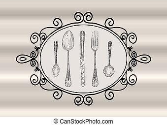 schizzo, elementi, stile, coltelleria, set, retro