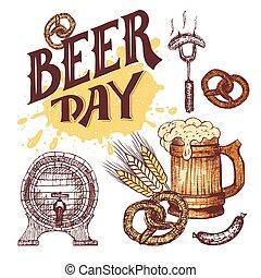 schizzo, elementi, stile, mano, birra, set, disegnato, giorno
