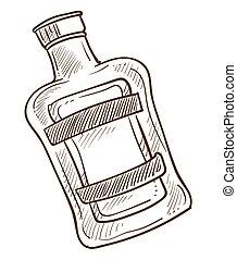 schizzo, emblema, contorno, liquido, dentro, bottiglia, monocromatico