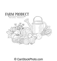 schizzo, fattoria, irrigazione, mano, realistico, cibo, fresco, disegnato, lattina