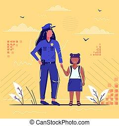 schizzo, femmina africana, legge, pieno, ragazza, mano, insieme, standing, sicurezza, americano, poco, ufficiale, presa a terra, uniforme, polizia, donna poliziotto, servizio, giustizia, lunghezza, autorità, scolara, concetto