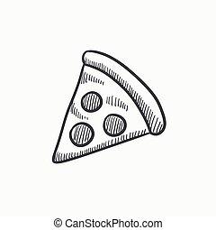 schizzo, fetta, icon., pizza