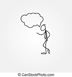 schizzo, figura, affari, uomo bastone, cartone animato, icona
