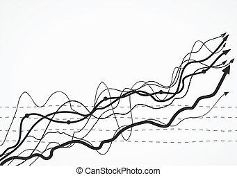 schizzo, finanza, affari, grahp, statistico, mano, infographic, scarabocchiare, disegnato