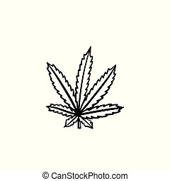 schizzo, foglia, marijuana, mano, disegnato, icon.