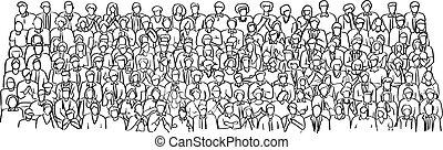schizzo, folla, persone affari, scarabocchiare, linee, isolato, illustrazione, mano, vettore, sfondo nero, disegnato, bianco, stanza riunione