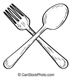 schizzo, forchetta, cucchiaio