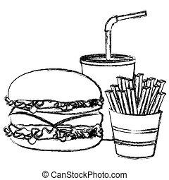 schizzo, frigge, francese, hamburger, soda, monocromatico