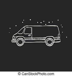 schizzo, furgone, automobile, -, nero, icona
