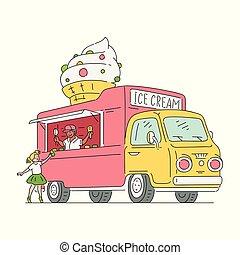 schizzo, furgone, vendemmia, stile, ghiaccio, vettore, crema