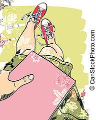 schizzo, gambe, ragazza, gumshoes
