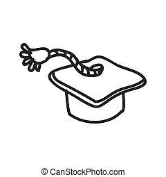 schizzo, grafico, berretto, graduazione, vettore, icon., design.