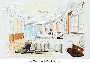 schizzo, grafico, camera letto