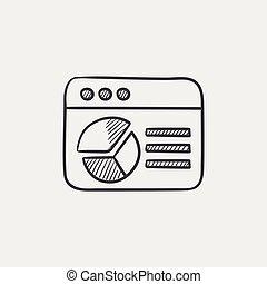 schizzo, grafico, torta, finestra, icon., browser