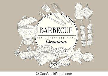 schizzo, griglia, utensili, saporito, barbecue, pollo, cottura, tema, caldo, carne di maiale, cibo, text., manzo, bistecca, kebab, salsicce, cucina, costole, eating., vettore, posto, gambe
