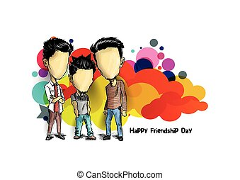 schizzo, gruppo, amici, mano, day., fondo., vettore, disegnato, godere, amicizia, cartone animato, felice