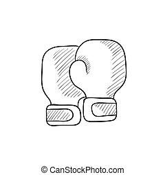 schizzo, guantoni da box, icon.