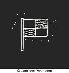 schizzo, guardalinee, -, bandiera, nero, icona