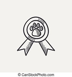 schizzo, icon., premio, cane
