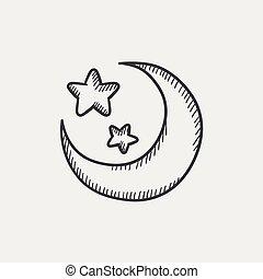 schizzo, icon., stelle, luna