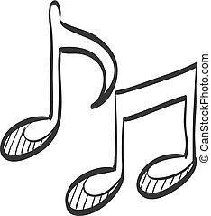 schizzo, icona, -, note musica