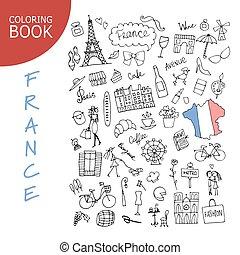 schizzo, icone, collection., francia, disegno, tuo