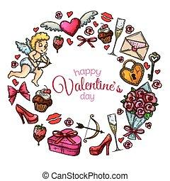 schizzo, icone, cornice, giorno valentines, rotondo