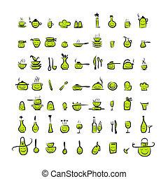 schizzo, icone, disegno, utensili, caratteri, disegno, tuo, cucina