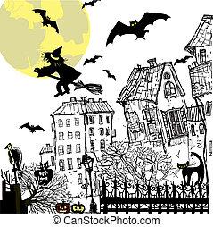 schizzo, illustration., halloween, fondo., vettore, inchiostro