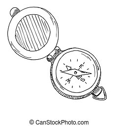 schizzo, illustration., isolato, fondo., vettore, compass., bianco