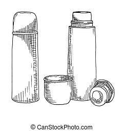 schizzo, illustration., thermos., isolato, fondo., vettore, bianco