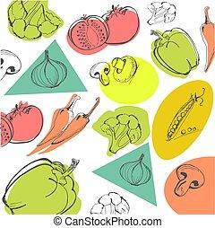 schizzo, illustrazione, mano, vettore, frutte, disegnato, stile