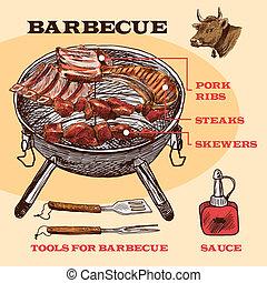 schizzo, infographic, carne, bbq