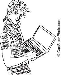 schizzo, laptop., illustrazione, giovane, vettore, uomo